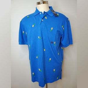 Chaps Royal Blue Polo Shirt with Pineapples NWT